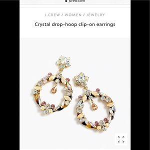 J crew Crystal drop hoop clip on earrings